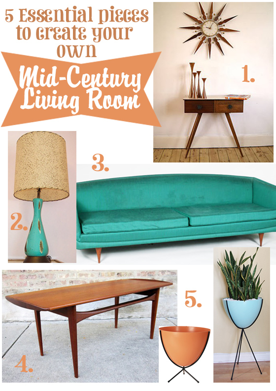 _create your own mid century living room